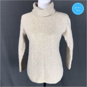 Vtg Jeanne Pierre Cable Knit Turtleneck Sweater
